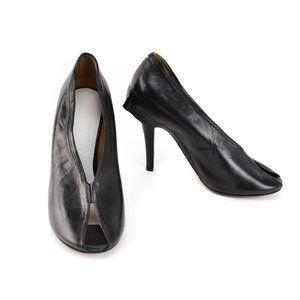 MAISON MARGIELA Black, Leather Peep-Toe Heels